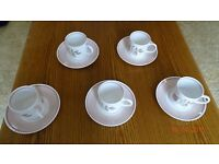 Set of 5 Coffee Cups with Saucers