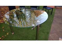 145cm Round Glass Extending Dining Table with 6 chairs