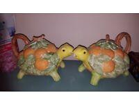 Vintage tortoise teapots