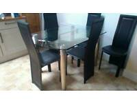 Glass Dining Table 5 Chairs