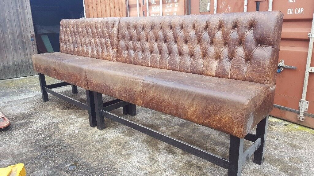Pair of Chesterfield style poser height pub /club/ benches.
