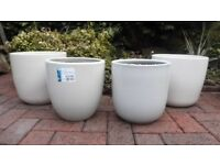 4 OFF WHITE POTTERY PLANTERS - USED BUT IN EXCELLENT CONDITION