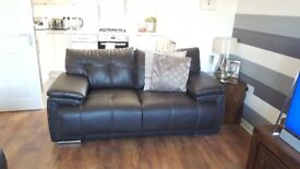 3 seater & 2 seater brown leather suite