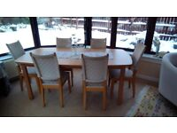 Ikea extending table and six chairs (integrated extension leaf).