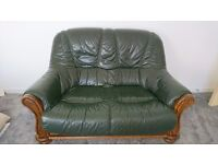 Bottle Green and wood 3 and 2 seater couch
