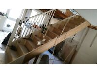 Straight solid wooden staircase