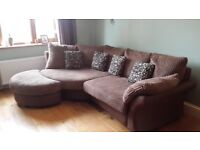 Gorgeous Chocolate brown Corner sofa & Cuddler sofa + half moon Pouffe