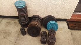 """Just over 100kg Standard 1"""" Cast Iron Weight Plates and Bars (Various Makes)"""