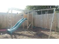 childrens climbing frame with slide 2 swings and monkey bars