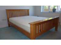 Beautiful Solid Oak king size bed frame with quality mattress, excellent condition