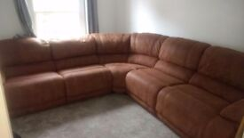 Genuine Leather Reclining Corner Sofa