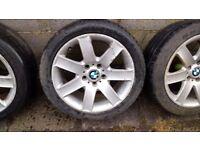 BMW 17ich alloys *2 good tyres* 2 legal tyres*