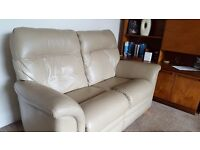 Leather Sofas and Chair by Parker Knoll. Almost new condition. Colour Taupe.