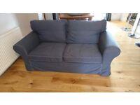 Ikea ektorp two seater sofa in dark blue 1 yr old