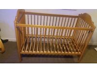 Excellent Condition Solid Pine Large Dropside Cot - £30