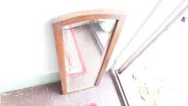 SOLID GLASS SMALL SLIM MIRROR on Wood Frame