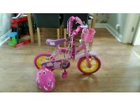 Girls peppa pig bike and helmet