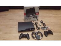 SONY PLAYSTATION 3 SLIM CONSOLE 320GB CHARCOAL BLACK + 2 CONTROLLERS + ACCESSORIES