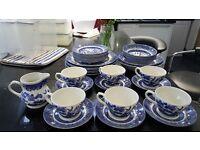Churchill Blue and White Willow Pattern China Dinnerware Set