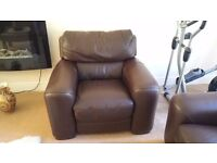 ScS Italian Leather Armchair 1 seat seater Sofa Brown Leather