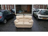 2 seater sofa in cream leather £95 delivered