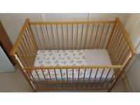 Cot. Wooden cot in good condition, removable mattress, easily assemble.