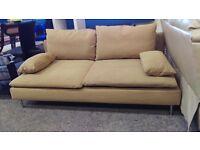 Modern IKEA brown fabric 2 seater sofa