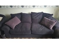 Beautiful large 3 person sofa and spinning cuddle chair.