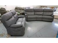 Ralph 4 Seater Curved Manual Recliner & 3 Seater Power Recliner Sofa Light Grey NEW From SCS Can/Del