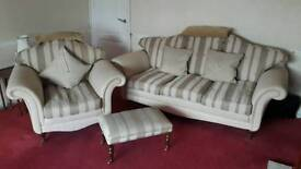 3 seater, armchair and foot stool