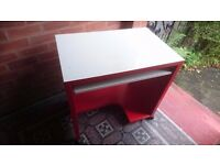 Red & white computer desk table with slide out keyboard drawer
