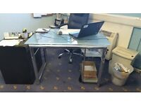 Glass & chrome effect Office desk (2 available), 112cm wide, 70 cm deep, selling individually