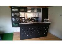 Bar, units, glass rack, glasses, fridge etc