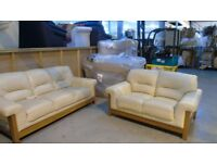 PRE OWNED 3 + 2 Seater in Cream Leather