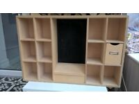 wooden pigeon hole wall storage unit craft hobby unit with blackboard