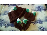Hand knitted Christmas pudding baby set hat,mittens and bootees