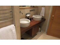Duravit countertop basins with chrome fittings: for sale singly or as a pair