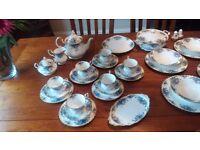 Royal Albert Moonlight Rose Tea & Dinner set - 50 pieces. - Blue version of Country Roses