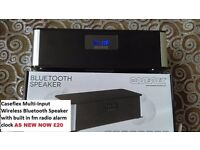 CASFLEX Bluetooth speaker with fm radio and alarm