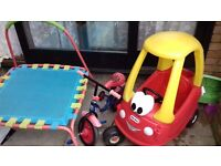 Toddlers trampoline, spider man bike, crazy coup car