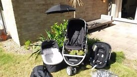 Mamas and Papas Zoom Travel System in Black.