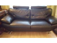 Faux leather 2 and 3 seater sofa with adjudtable headrests