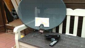 Manhattan Freesat HD satellite TV system comprising digi box and satellite dish