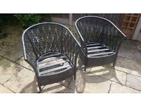 2x Weave Outdoor Chairs and Cushions