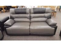 ScS Venus Grey & Black Leather 3 Seater Electric Recliner Sofa **CAN DELIVER**