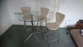 Quality glass table with 3 tall cocktail style chairs