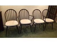Ercol Dark Oak Windser Dining Chairs x 4