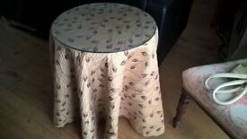 Round side table with cover and glass top - lovely condition
