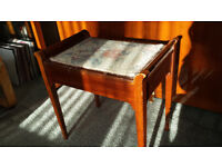 Vintage style wooden Piano Stool Floral woven pattern Lift up Storage