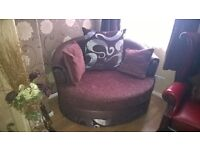 Swivel large arm choclate brown DFS